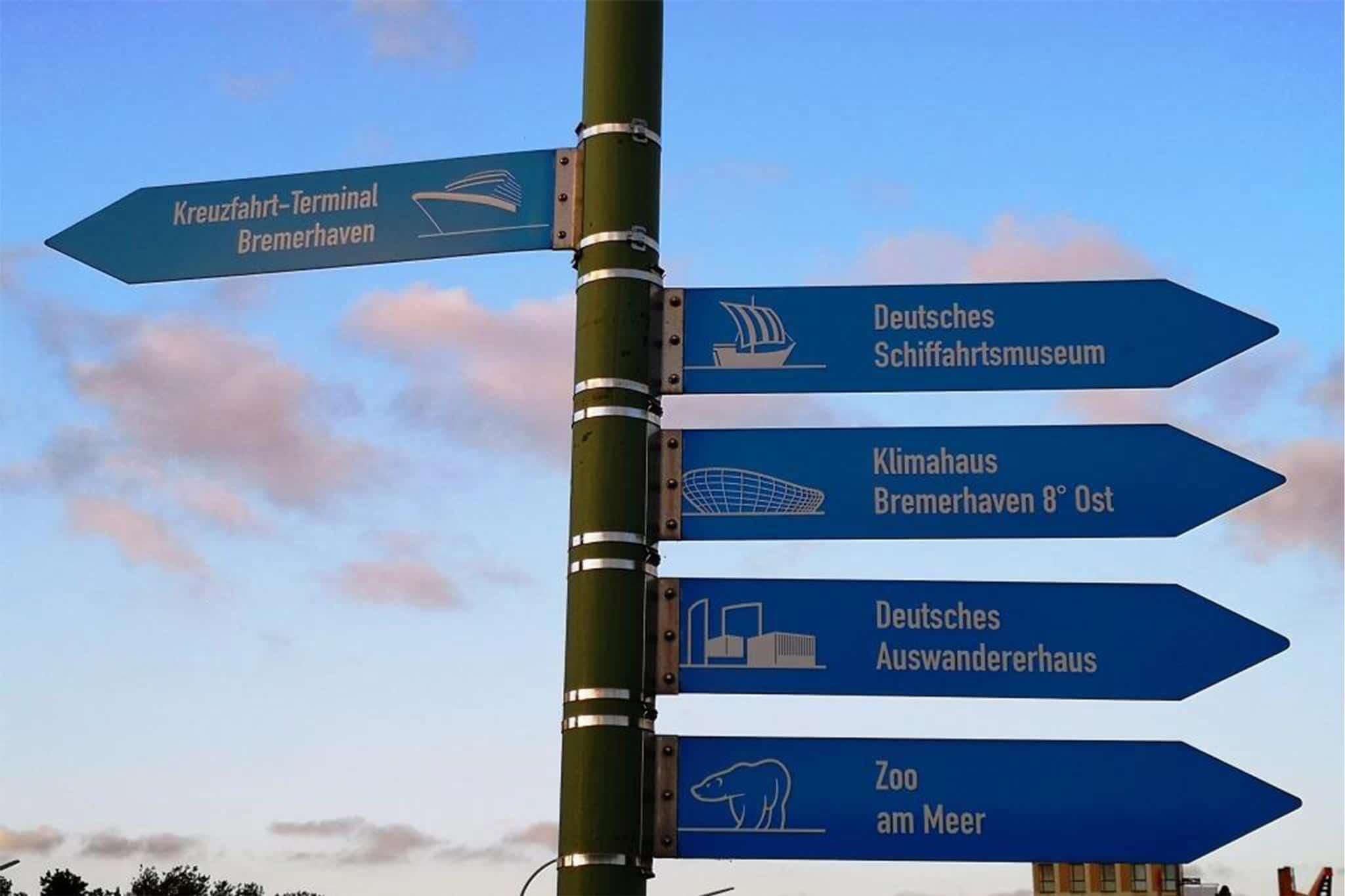 Orientierungspunkt Havenwelten Bremerhaven Wegweiser